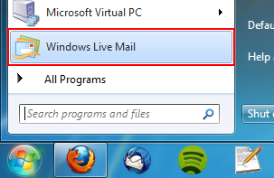 Once Windows Live Mail is installed, you can find it under the Start Menu